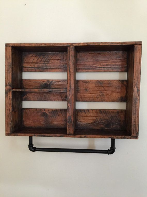 Rustic Bathroom Shelf Fire Treated And By