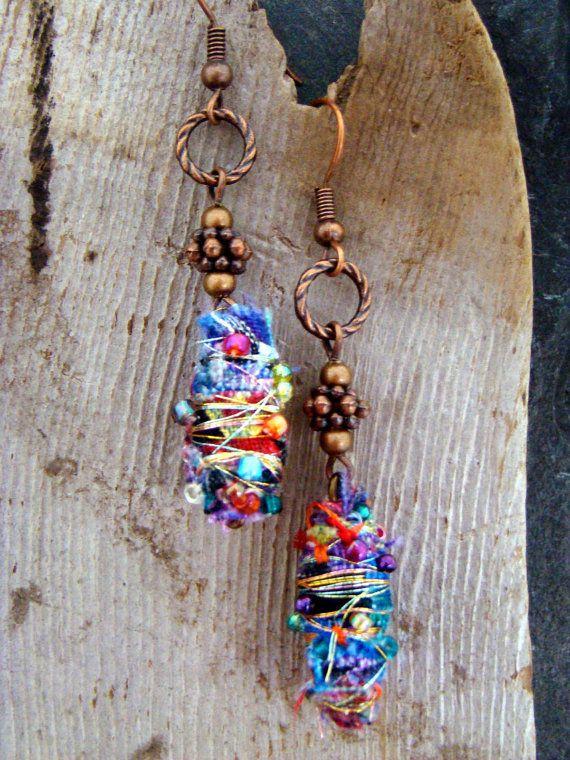 Colorful Boho Hippie Embellished Fabric Bead Earrings by Sewartzee, $12.00