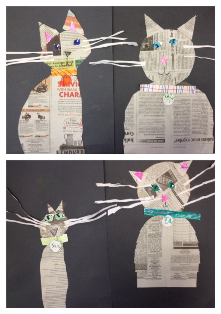 Kindergarten made kitty cats from newspaper. Chat réalisé à l'aide de papier journal