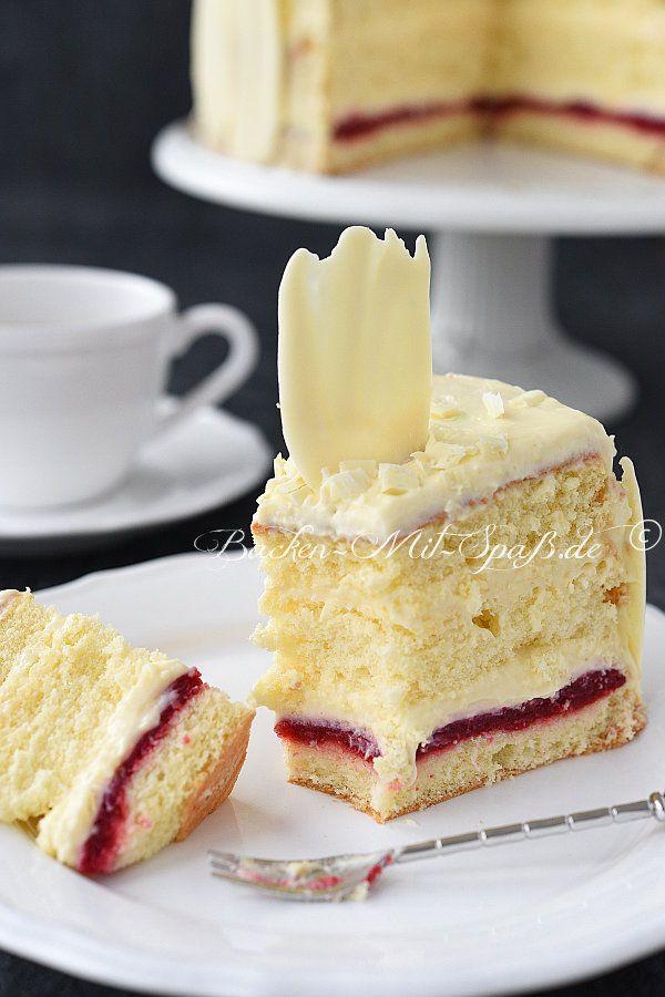 Konditorcreme- Torte mit Himbeeren