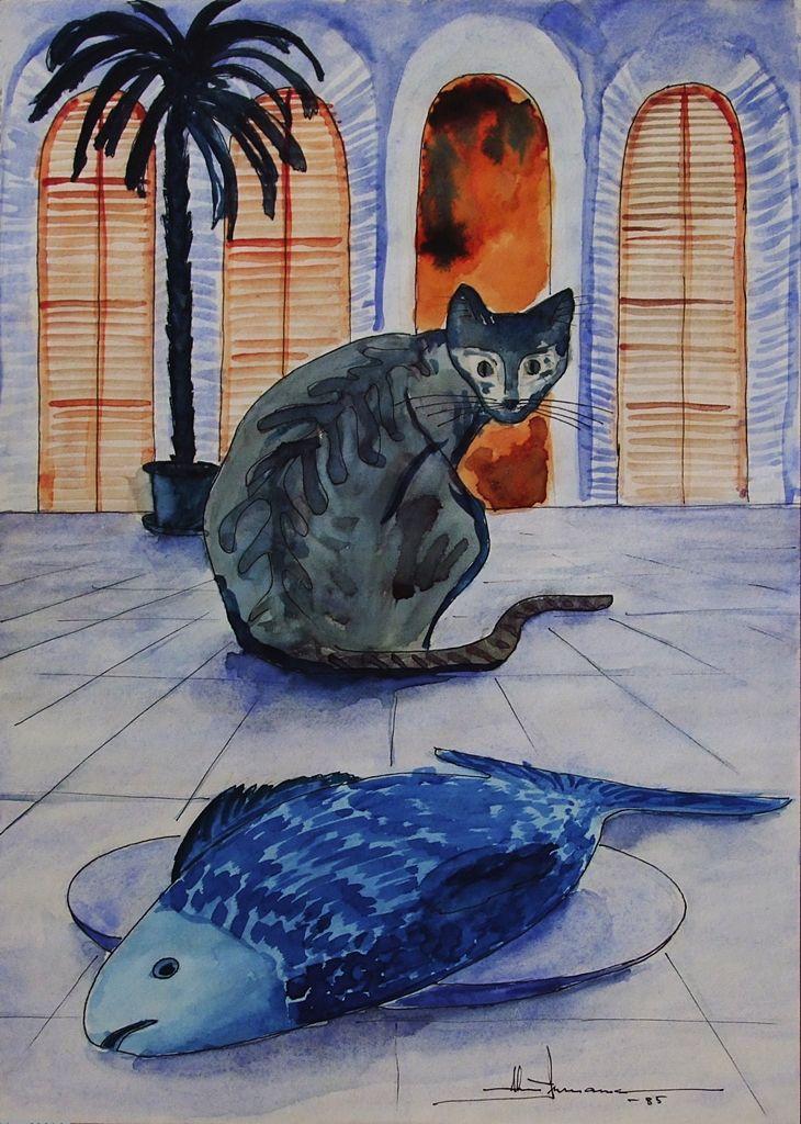 Le chat et le poisson. Encre et aquarelle 1985 par #ainnamaa