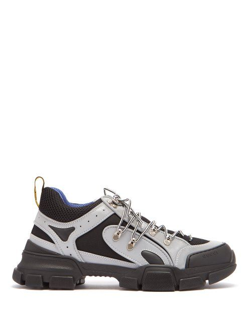 38dcc1ae7 GUCCI GUCCI - FLASHTREK REFLECTIVE LEATHER TRAINERS - MENS - SILVER. #gucci  #shoes