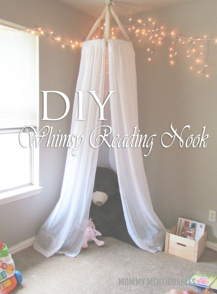 How to make a Whimsy Reading Nook for kids using curtains. Really easy tutorial and it looks beautiful! #