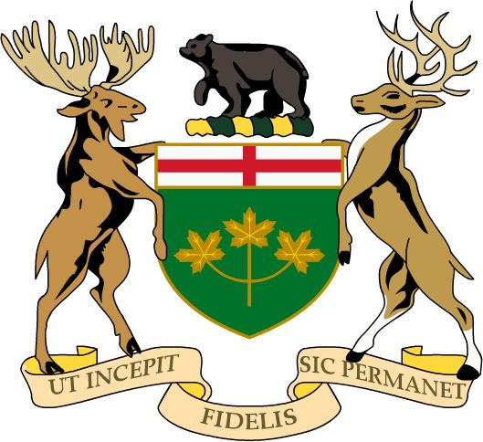 The coat of arms of Ontario was granted by Royal Warrant of Queen Victoria on 26 May 1868. This arms of Canada was shared with the provinces of Quebec, New Brunswick and Newfoundland and Labrador and also used in the Canadian Red Ensign. The Dominion arms was simple and lacked supporters. The award of arms was augmented with supporters and a crest by Royal Warrant of King Edward VII on 27 February 1909. The province's arms are the only one without royal symbols, namely a crown.