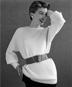 This sweater style, known as a sloppy joe, was a large pullover sweater that was popular during the 1940s. Movie stars who wore sweaters for posters were called sweater girls.