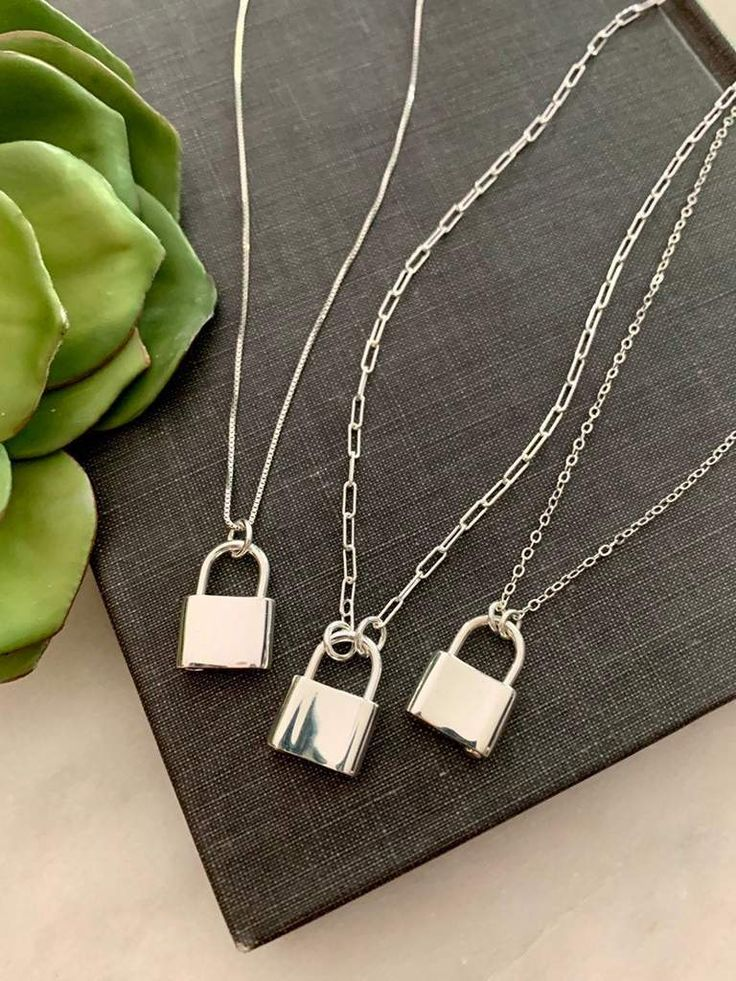 Sterling Silver Mini Padlock Necklace (With images