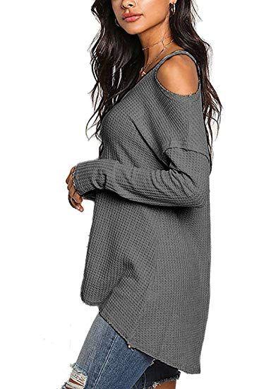 fcd75298741 YOINS Damen Off Shoulder Pullover Schulterfrei Oberteil Damen Elegent  Langarmshirt V-Ausschnitt Strick - herbst. Besuchen. Januar 2019