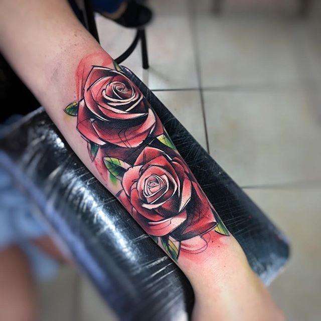 Ros AB #tattoo #tatuaje #roses #rosas #red #rosesred #flores #flowers #ab #natural #aquarelle #watercolor