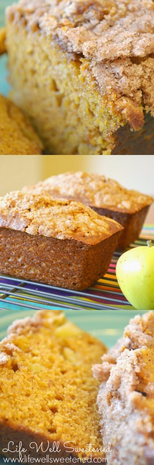 Amazing Pumpkin Apple Bread. Oh my goodness.. me and my family go CRAZY over this deliciously moist bread. Perfect for the holidays!
