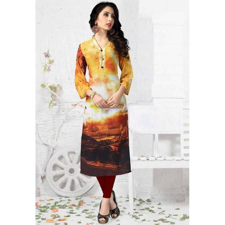 DESIGNER PURE GEORGETT DIGITAL PRINT YELOW BLACK WHITE SHADED KURTIS