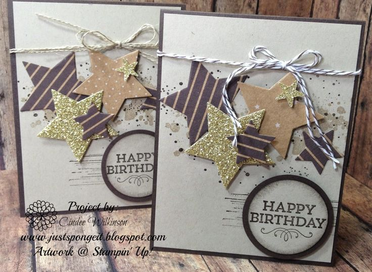 Just Sponge It: Happy Birthday Star Card, Stars Framelits, Hey You stamp set, Gorgeous Grunge stamp set, Under the Tree dsp, Happy Birthday Cards, DIY, Stampin' Up!