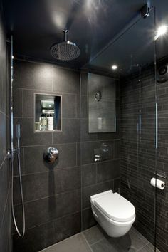 small wet room, like shower head style, like plain glass divide, like storage in shower, a bit too dark
