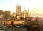 """New artwork for sale! - """" Worcester Cathedral River Severn by David Cox """" - http://ift.tt/2BsOsNP"""