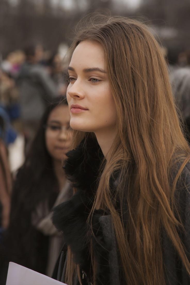 "Polish model Monika ""Jac"" Jagaciak after Valentino Fall 2013 show at Paris Fashion Week (via paulreehorst.com)"