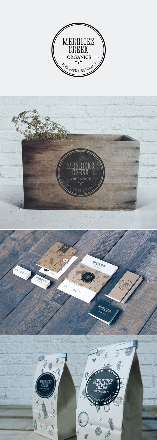 Merricks Creek Organics brand design by The Creative Co This rural-based produce company needed an authentic identity that encompassed their core values; organic, rustic and real - whole foods that are good for the soul. We developed a creative treatment that translates across multiple textures, packaging styles and communication channels. Wholesome design goodness.