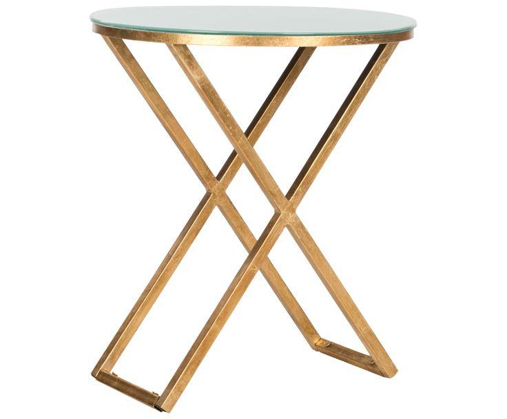 Beistelltisch deluxe: Modell RIONA von Safavieh punktet durch einfache Eleganz. Goldfarbenes Eisen und eine Glasplatte verschmelzen zu einer anmutigen Kombi, die jederzeit als Ablagefläche neben Sofa oder Bett bereit steht.