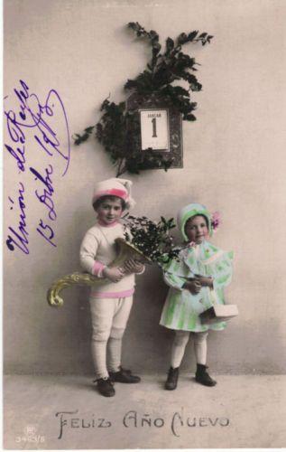 Милые дети-январь-новогодние праздники приветствие-реальные фото открытка-винтаж реальные фото открытка | eBay