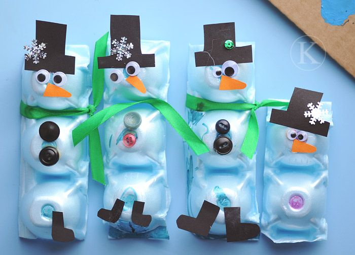 Egg carton snowmen other versions here http www for Christmas decorations using egg cartons