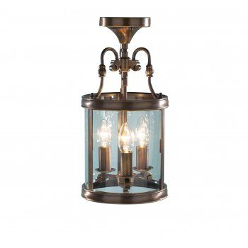 Dar dar lambeth 3 light traditional ceiling light lantern dual mount antique brass finish dar from ocean lighting uk