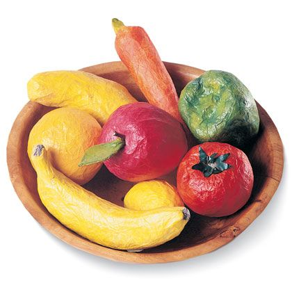 Colorful Fruit & Veggie Bowl  Perfect for a rainy day, this Papier-Mâché