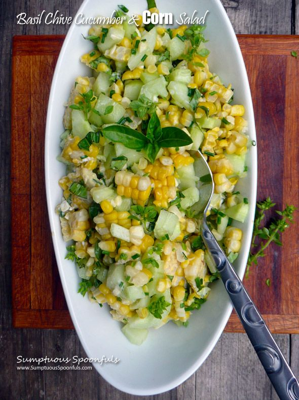 just very slightly adapted from my friend Ann at The Fountain Avenue Kitchen Fresh summer corn with crunchy cucumbers, basil and chives … what more could you need to make a great salad? Not m…