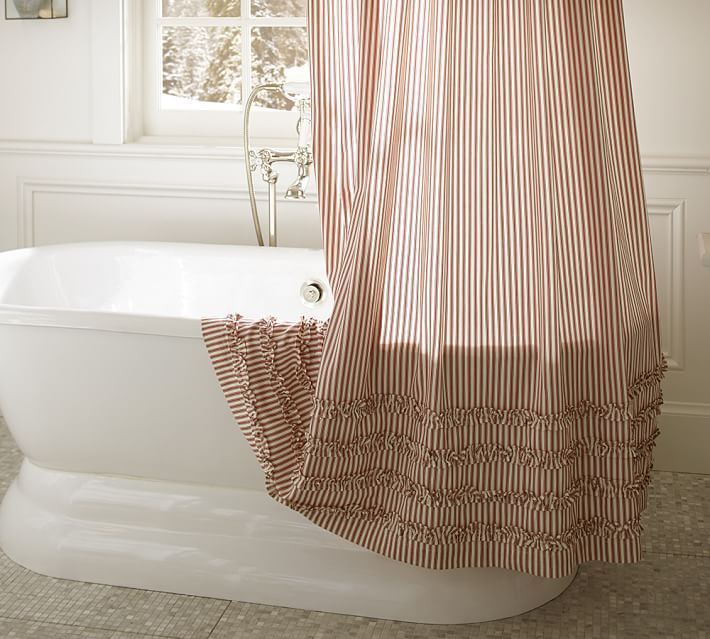 Ticking Stripe Ruffle Shower Curtain Decorating With