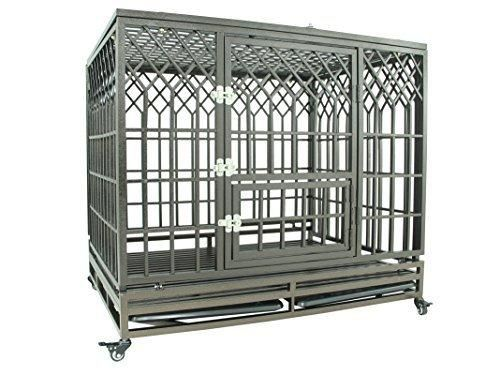 """SMONTER 42"""" Heavy Duty Strong Metal Dog Cage Pet Kennel Crate Playpen with Wheels Y Shape Brown"""