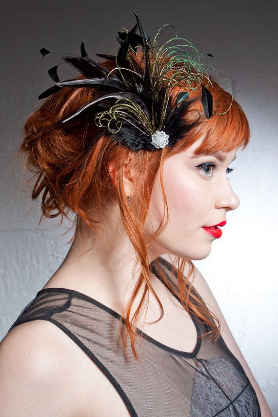 Belle Epoch Black And Green Feather Hair Clip