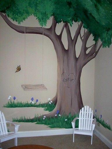 Playroom Mural - A hand painted tree that features a swing and the little girl's name carved into the tree! Click on the image to see a wide...