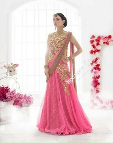 Sarees - Pink, Light Brown, Golden Bridal Collections - Resplendent Bridal Designer Wedding Special Collections / Wedding / Party / Special Occasions / Festival - Boutique4India Inc.