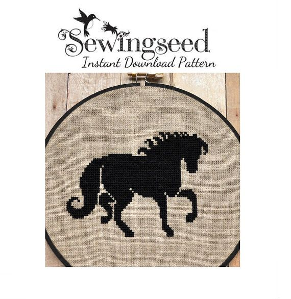 Black Horse Cross Stitch Pattern Instant Download by Sewingseed, $5.00