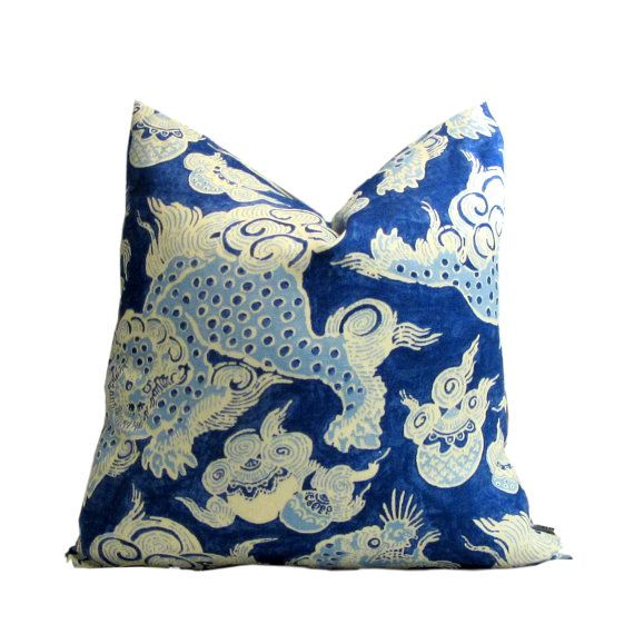 Dunmore Dragon Blue Pillow Cover by PillowsByDwellissimo on Etsy