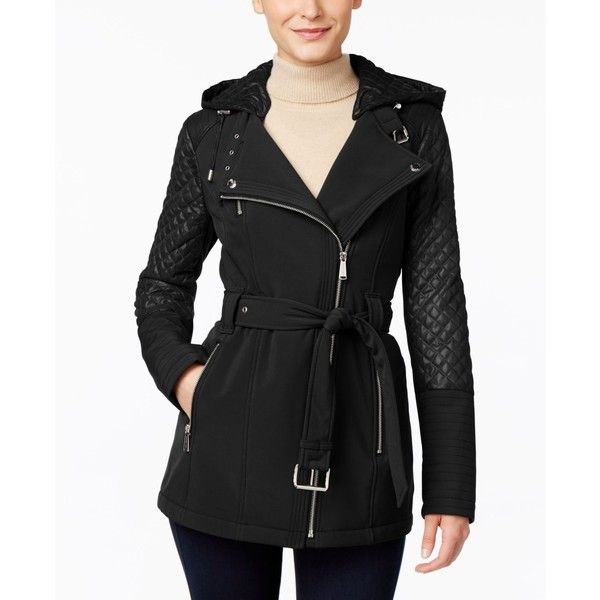 Michael Michael Kors Petite Hooded Asymmetrical Trench Coat ($120) ❤ liked on Polyvore featuring outerwear, coats, black, quilted trench coat, quilted coat, asymmetrical coat, trench coat and petite trench coat