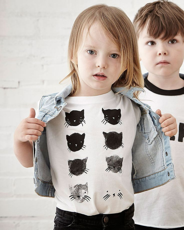 "Gender neutral white tee in 100% cotton fine jersey. Printed with our ""Greyscale Kitties"" image. Made in the USA, printed in Canada. This design is also available as a paper print. KIDS T-SHIRTS 2 4 6"