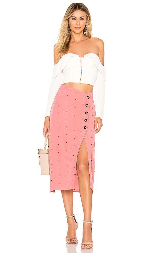 5a89fa33563 For Love   Lemons X REVOLVE Midi Skirt in Pink Dot