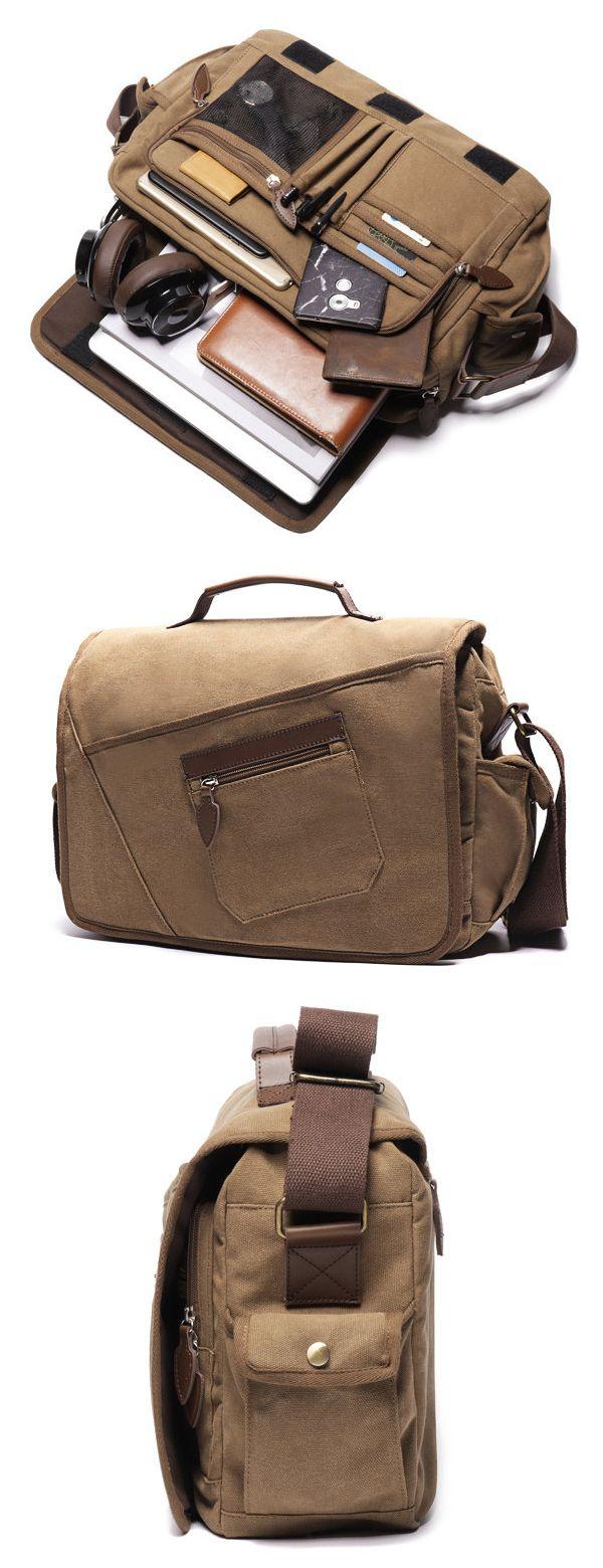 US$39.35 Ekphero Vintage Canvas Large Capacity Casual Multi-pocket Crossbody Bag For Men#bags#Crossbody Bag