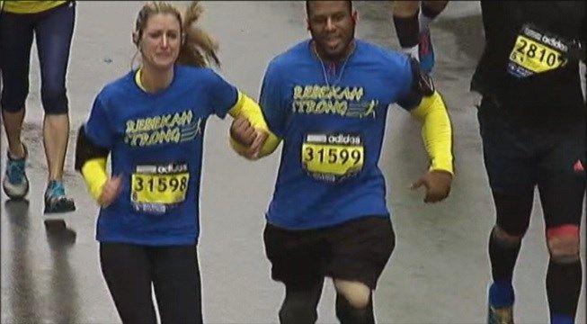 Inspirational story:  Rebekah Gregory crosses the Boston Marathon finish line in 2015. {video}