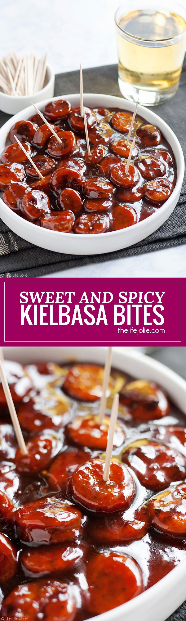 These Sweet and Spicy Kielbasa Bites are such an easy recipe! Just 3 simple ingredients and they're ready in around 20 minutes. These glazed sausage bites are sure to be at hit at any holiday or game day party!