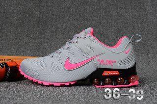 d9740bc152e8c9 Nike Air Shox Flyknit Wolf Grey Pink Womens Footwear
