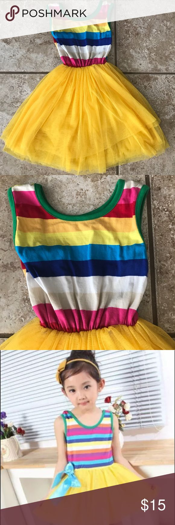 Pretty yellow tutu and striped top dress 👗 Adorable tutu dress 👗 like new condition. 3T Dresses Casual
