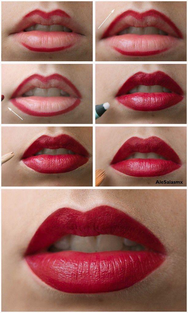 Aprende a delinear tus labios rojos como toda una profesional del maquillaje   www.facebook.com/AleSalasmx