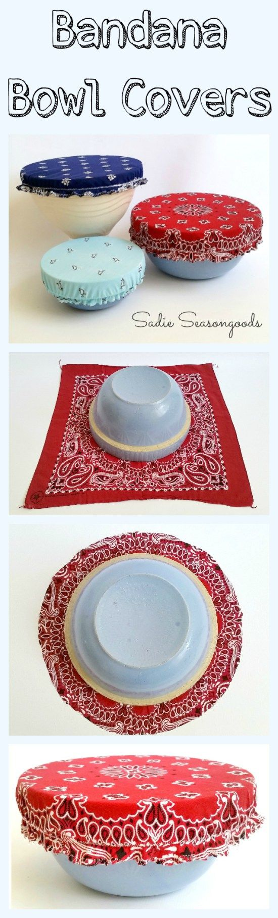 Just in time for July 4th and summer BBQs...DIY reusable, washable bowl covers from bandanas! Your lidless mixing bowl gets some patriotic panache with a vintage bandana bowl cover, which will keep the bugs out when sitting on the picnic table! Such a fun way to repurpose a bandana...easy to make and oh so pretty! Perfect upcycle project from #SadieSeasongoods / www.sadieseasongoods.com