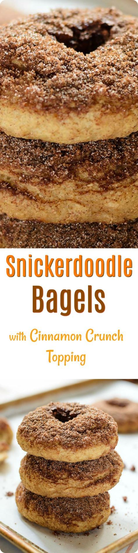 Snickerdoodle Bagels with Cinnamon Crunch Topping | Soft and chewy homemade bagels with cinnamon crunch topping that taste just like a snickerdoodle cookie! Find recipe at redstaryeast.com.
