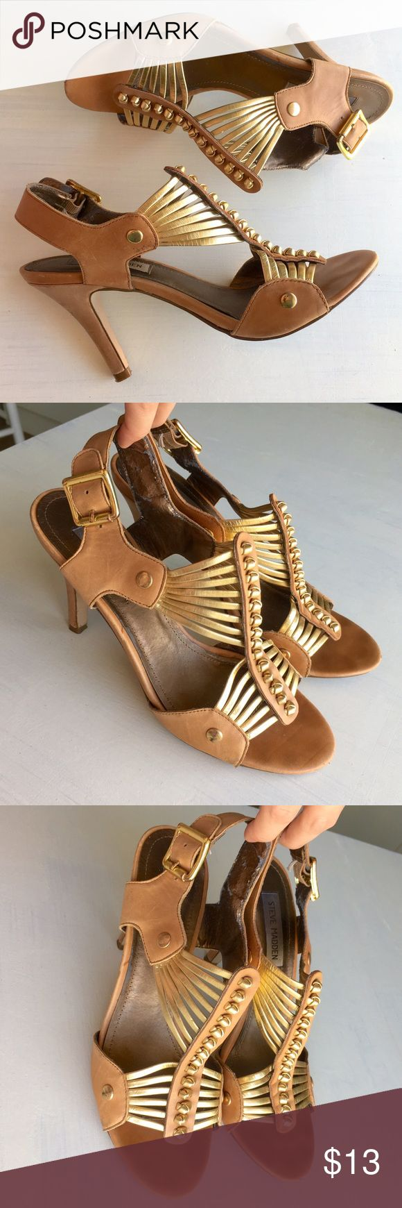 Steve Madden Sexy Strappy Gold Studded High Heels Steve Madden Strappy Gold Studded Boho Leather High Heels. Size 8.5. Used, but still awesome. The only flaw is on the inside of the straps. It's slightly peeling, but not noticeable when they are on. Steve Madden Shoes Heels