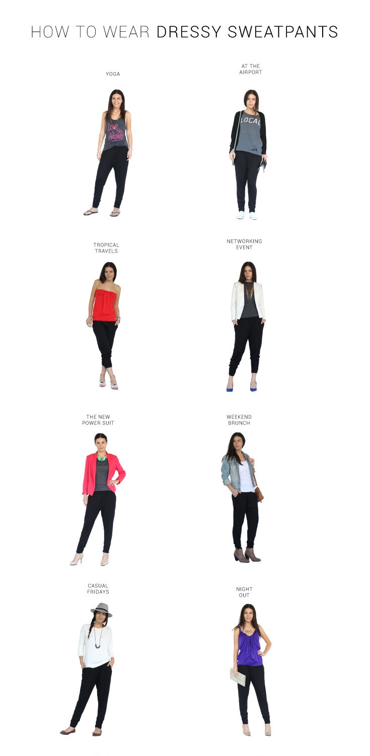 How to wear Harem Pants. Styling ideas and outfits for work using harem pants, yoga pants, dressy sweatpants dressy joggers
