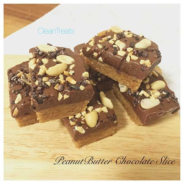 Peanut Butter Chocolate Slice using our Protein Pancake Mix made by Clean Treats. A divine low carb treat!