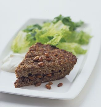 Kibbeh. Love to eat it with hummus and tabouli          Baked Kibbeh Recipe  at Epicurious.com