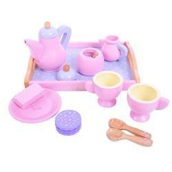 Bigjigs dřevěný čajový růžový set