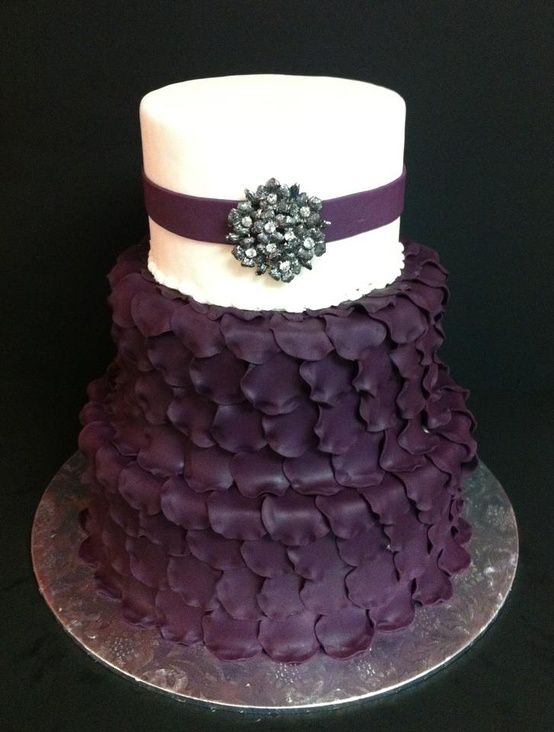 Wedding Cake, deep purple and ivory or white top (I like the top!) Carina