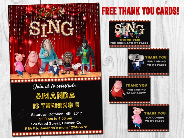 Sing invitation printable Sing birthday invitation Sing movie party favor tags First birthday outfit Sing thank you cards Party supplies by RainbowPartyStore on Etsy https://www.etsy.com/listing/541441138/sing-invitation-printable-sing-birthday